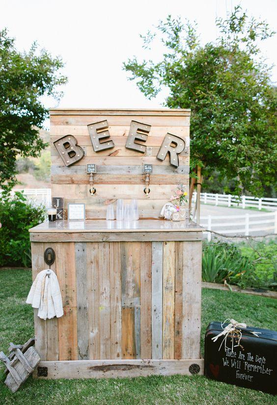 bière en thème de mariage